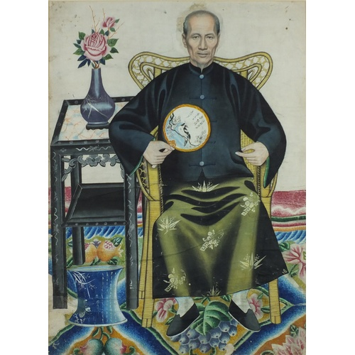9 - Ancestral portraits, near pair of Chinese watercolours, framed, the largest 65cm x 47cm  the other 6...