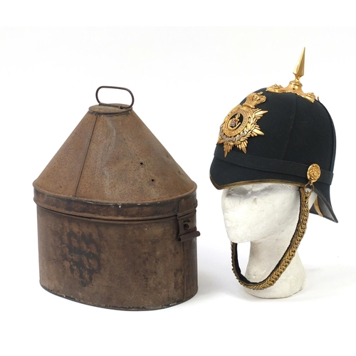140 - Victorian Duke of Cornwall Light Infantry Regiment Home Service blue cloth helmet by Bartels & Co of...