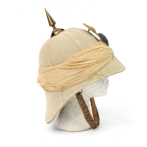 139 - Victorian Royal Dublin Fusiliers Home Service helmet previously owned by Major G A Shadforth, with t...