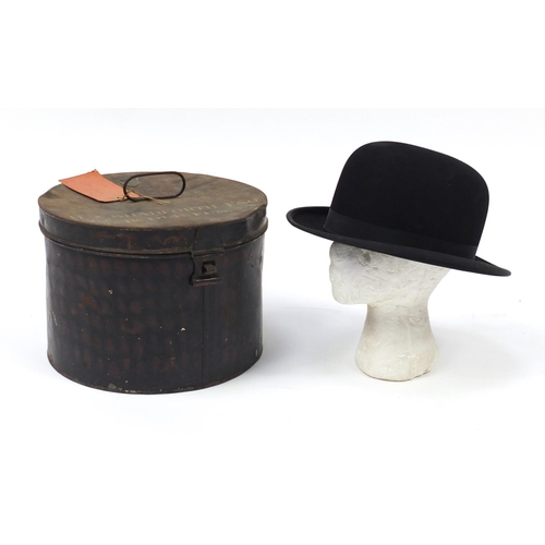 138 - Military interest bowler's hat and tin case with applied Edward Smith plaque, the case inscribed H A...