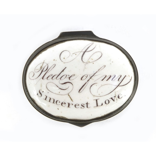 50 - 18th century Bilston enamel patch box and four antique enamel decanter labels, the patch box lid ins...