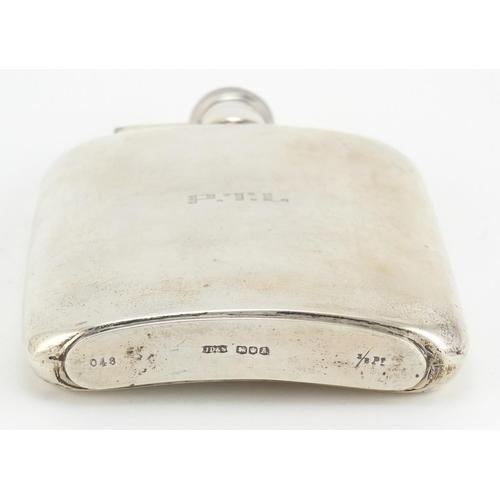 36 - Large silver hip flask by James Dixon & Sons Ltd, Sheffield 1943, 16cm high, 255.8g...