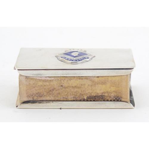 37 - Silver matchbox case with enamelled HMS Hermes crest, impressed Sterling to the base, 6cm wide, 42.8...
