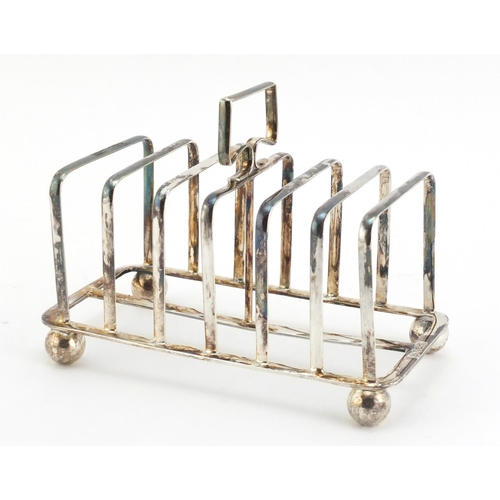 34 - Victorian silver six slice toast rack by Atkin Brothers, Sheffield 1899, 15cm wide, 229.0g...