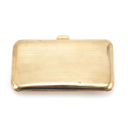 38 - 9ct gold cigarette case, retailed by Asprey London, with applied diamond set flower, Birmingham 1909...