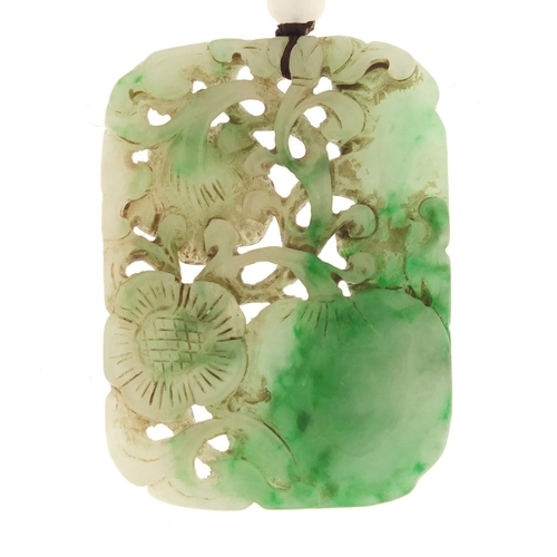14 - Chinese green jade pendant carved with flowers and fruits...