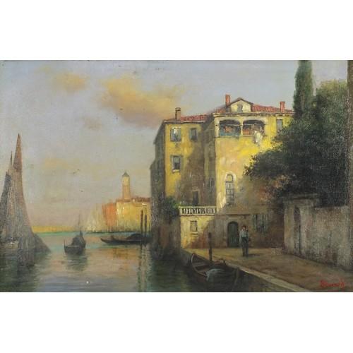 46 - Manner of Antoine Bouvard - Venetian canal, oil onto board, mounted and framed, 59.5cm x 39.5cm...