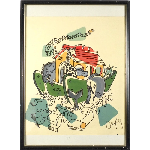 136 - Manner of Raoul Dufy - Abstract composition with animals, watercolour, framed, 52cm x 43.5cm