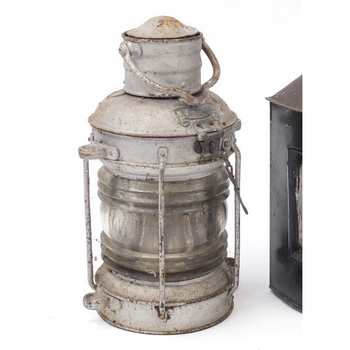 21 - Three ship's mast head lanterns including starboard and port, one with Birmingham Engineering compan...