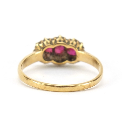 42 - 18ct gold ruby and diamond ring, size R, 2.8g...
