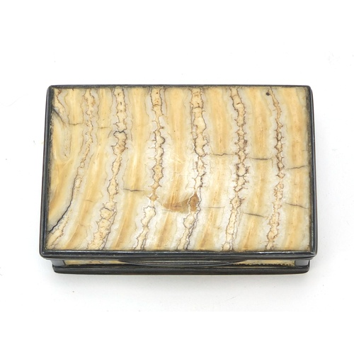 1 - 19th century mammoth tooth snuff box with silver mounts, hinged lid and gilt interior, impressed TF ...