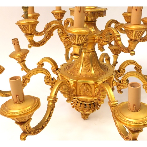 28 - Good Italian gilt brass/bronze sixteen branch two tier chandelier by FBAI, 90cm in diameter x 80cm h...
