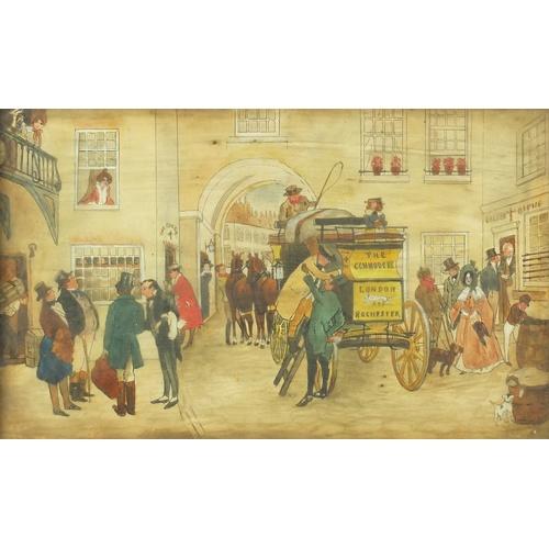 17 - O E Carter - Coaching scenes, set of eight Edwardian watercolours, each framed, each 30cm x 17.5cm...