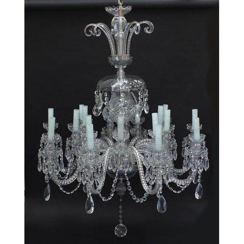 27 - Good cut crystal twenty seven branch chandelier with drops, possibly Waterford, 140cm high...
