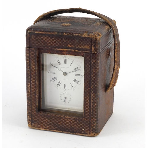3054 - French brass cased repeating carriage clock with leather travelling case by François-Arsene Margaine...