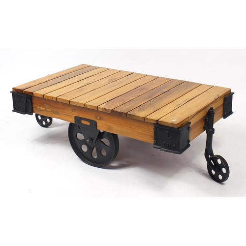 4300 - Railway interest lightwood and painted steel cart design coffee table, 44cm H x 125cm W x 71cm D...