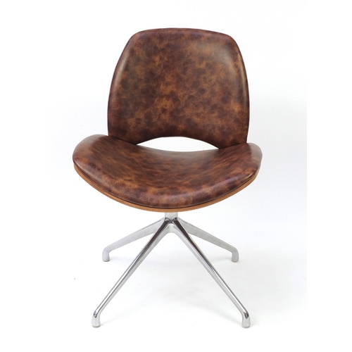 4258 - Contemporary Frovi Era swivel chair with leather upholstery, 81cm high...