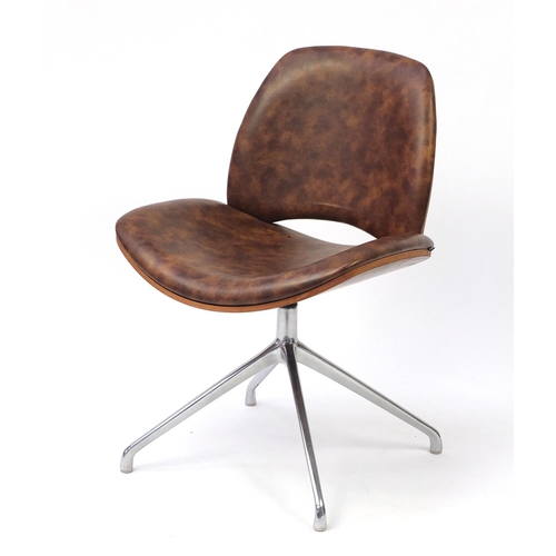 4257 - Contemporary Frovi Era swivel chair with leather upholstery, 81cm high...