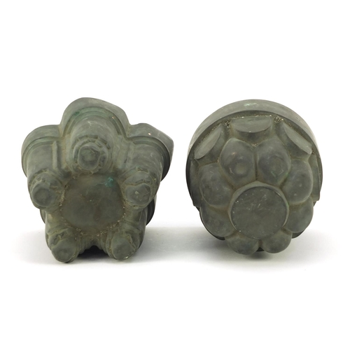 3008 - Two Victorian copper jelly moulds including one by Benham & Froud numbered 388, the largest 15cm hig...