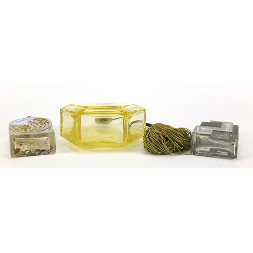 3155 - Two Art Deco glass atomisers and a scent bottle, including one enamelled with a crane, the largest 1...