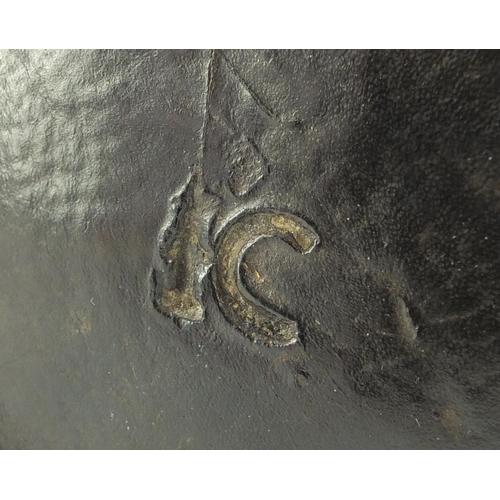 3002 - 17th century English leather costrel, 17cm high...