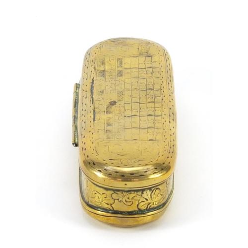 3007 - 18th century Dutch seaman's brass tobacco box of Pieter Holm, 16cm wide...