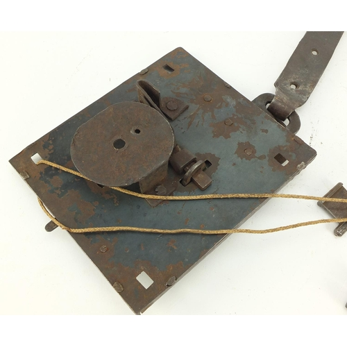 3177 - Antique steel lock with key and two other keys, 17.5cm long...