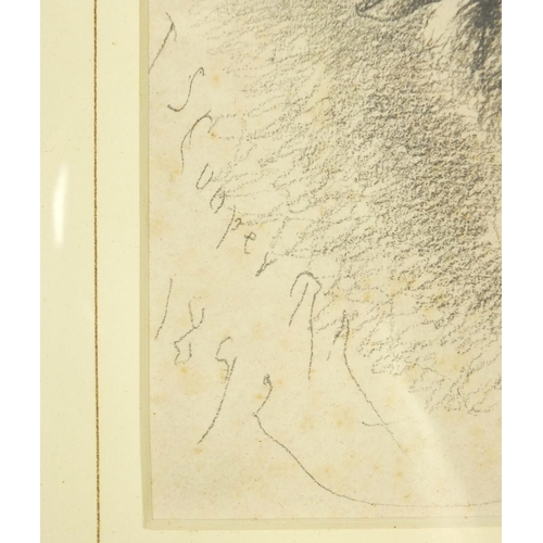 3031 - Thomas Sidney Cooper - Head of a sheep, late 19th century pencil on paper, mounted, framed and glaze...