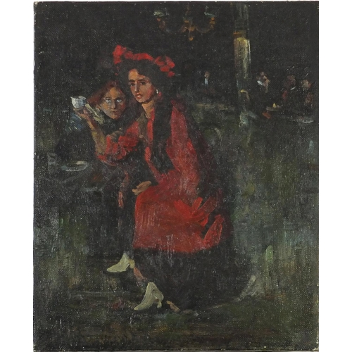 4122 - Figure in a cafe, Russian school oil on canvas, label and inscription verso, unframed, 50cm x 40cm...