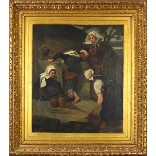 3030 - Maidens collecting water from a well, 19th century Pre-Raphaelite school oil on canvas, mounted and ...
