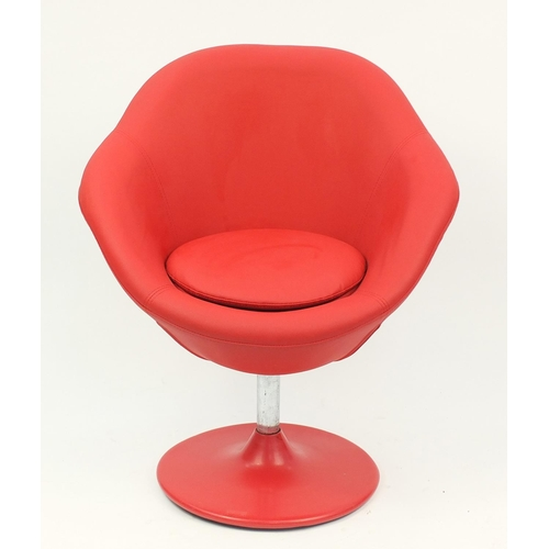 4302 - Contemporary swivel lounge chair with red faux leather upholstery, 90cm high...