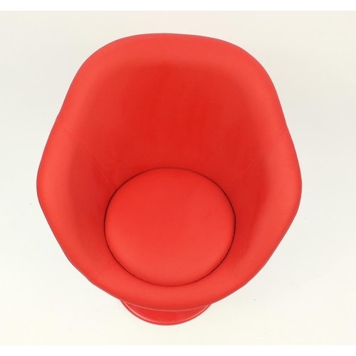 4301 - Contemporary swivel lounge chair with red faux leather upholstery, 90cm high...