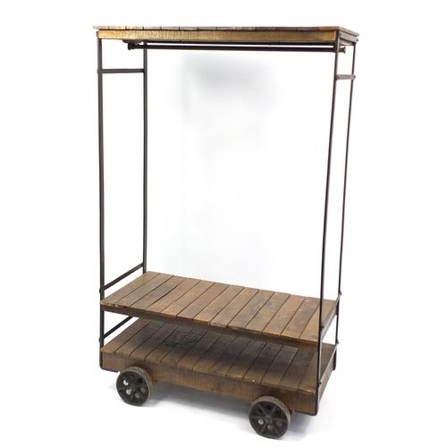 4248 - Railway style luggage trolley design coat rack, 190cm H x 118cm W x 55cm D...