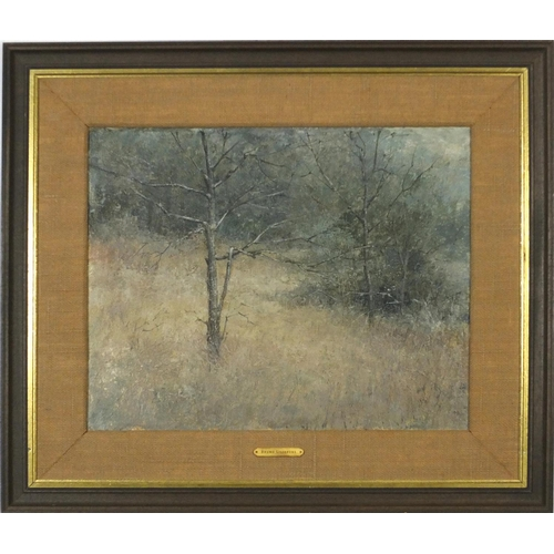 3032 - Attributed to Bruno Liljefors - Forest landscape, Swedish school oil on board, mounted and framed, 4...