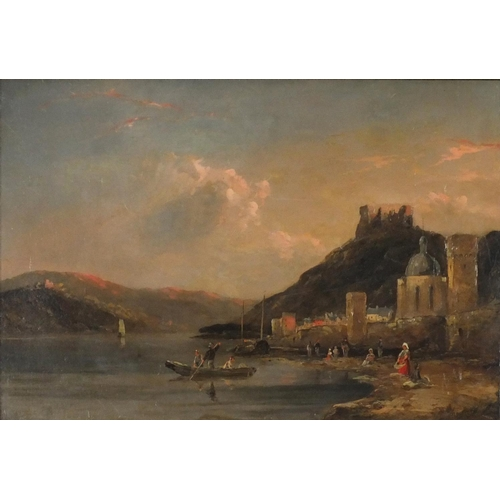3029 - People by a river with ruins in the distance, 19th century Italian school oil on canvas, framed, 46c...