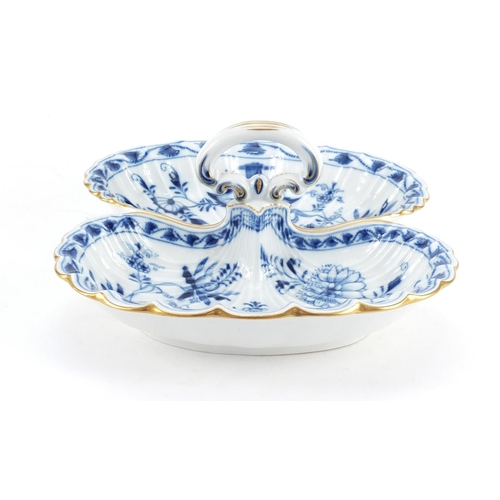 3051 - Meissen porcelain twin serving dish, hand painted in the Blue Onion pattern, crossed sword marks to ...
