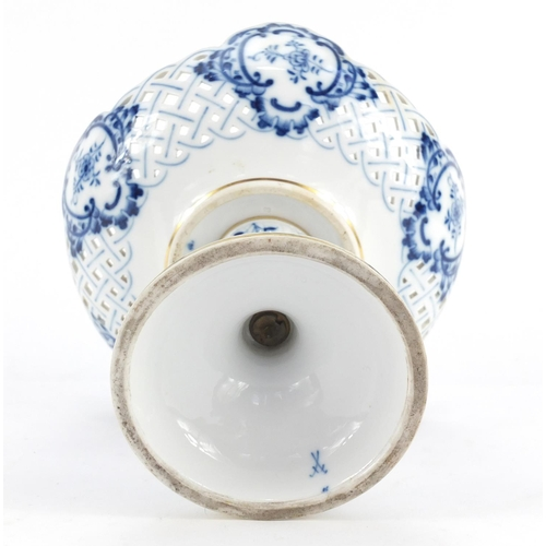 3050 - Meissen porcelain pierced tazza, hand painted in the Blue Onion pattern, crossed sword marks to base...