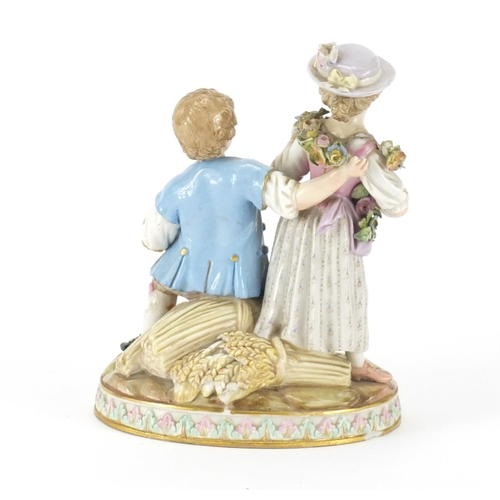 3048 - 19th century Meissen figure group of a boy and girl playing a mandolin, blue cross sword marks and n...