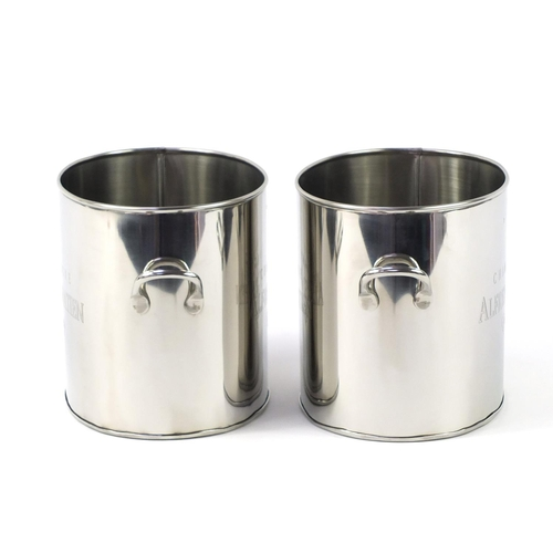 3734 - Pair of Alfred Gratien design stainless steel champagne ice buckets with twin handles, each 18.5cm H...