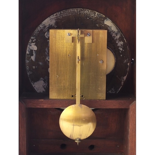 3976 - Victorian mahogany bracket clock, the circular painted dial with Arabic numerals inscribed Abbey Wat...