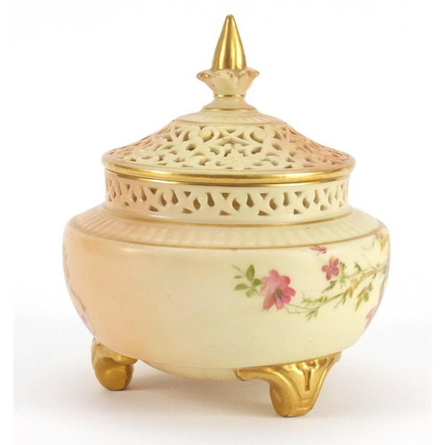 3046 - Royal Worcester blush ivory potpourri vase with pierced lid, decorated with flowers, numbered 120, 1...