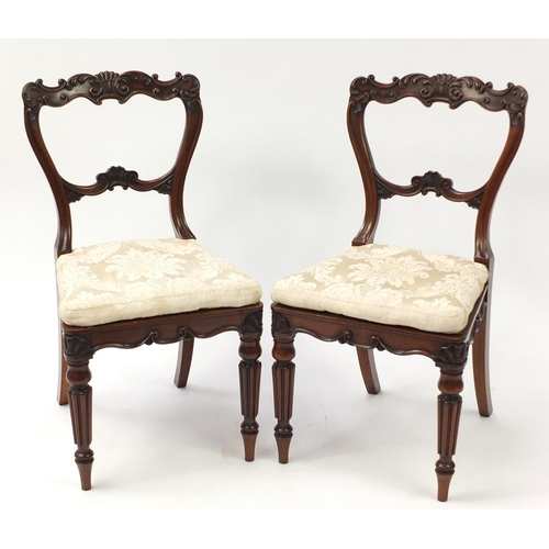4259 - Pair of Waring & Gillow rosewood chairs with fluted legs and cane seats, 87cm high...