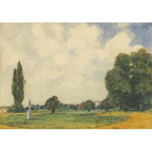 3851 - P A Hay 1925 - Hampton Court London watercolour, mounted, framed and glazed, 34.5cm x 24.5cm...