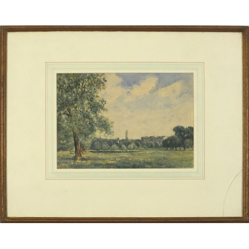 3852 - P A Hay 1925 - Green Park London with Buckingham Palace in the distance, watercolour, mounted, frame...