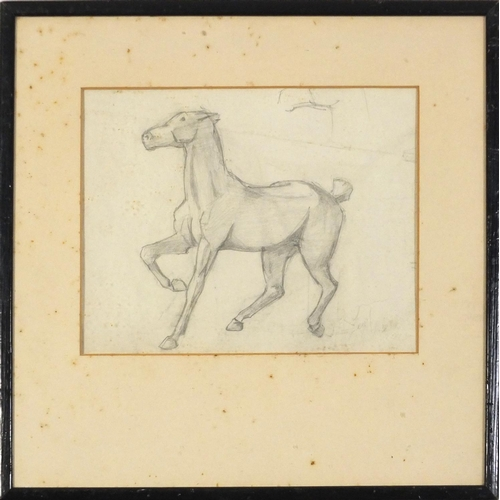 3853 - Manner of Leon Underwood - Study of a horse, pencil on paper, mounted, framed and glazed, 26cm x 20c...