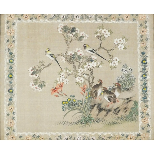 3221 - Quails amongst flowers and blossoming trees, Chinese watercolour on silk, mounted, framed and glazed...