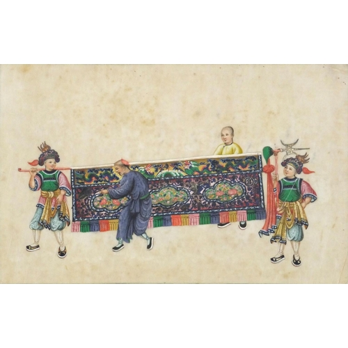 3220 - Good Chinese pith painting of four Mandarins, framed and glazed, 31.5cm x 20.5cm...