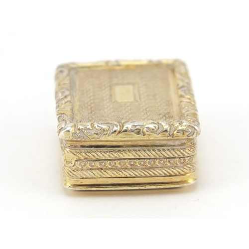 3017 - George IV silver gilt vinaigrette, by William Simpson, Birmingham 1826, 3cm wide, 14.8g...