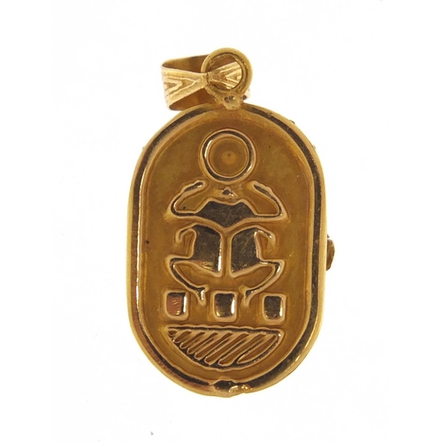 3425 - Egyptian Revival gold scarab beetle pendant, 3cm in length, 1.6g...