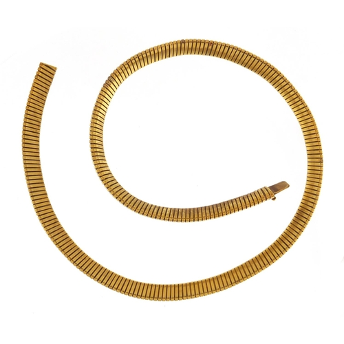 3025 - Unmarked gold snake link necklace, (tests as 14-18ct gold) 42cm in length, 22.3g...